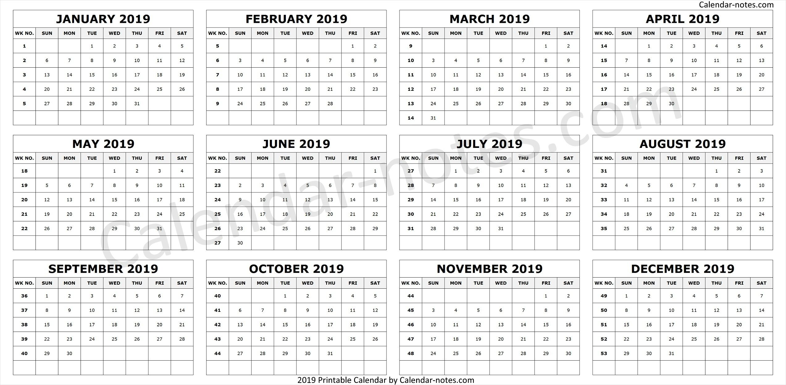 Calendar 2019 By Week Numbers Week Number Calendar 2019 To Print