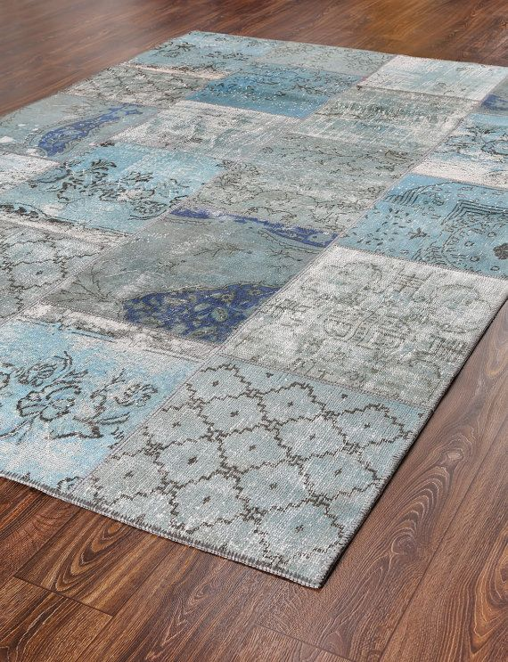 118x79 Inches Wool Carpet Vintage Patchwork Rugs Turquoise Gray Tones Rug Turkish Overdyed And Cotton 739 Living Pinterest