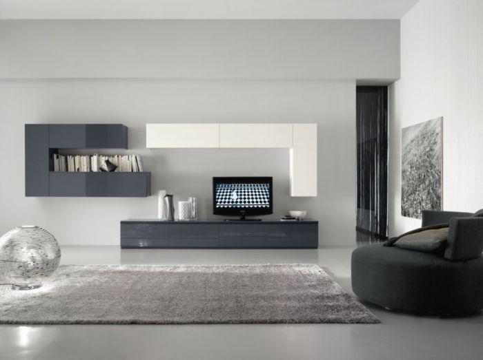 ikea wohnwand graue weiße fronten hochglanz schrankwand weicher - teppich wohnzimmer grau