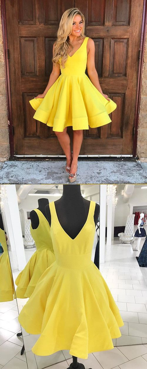 cute a line v neck yellow satin homecoming dresses short prom dress ...