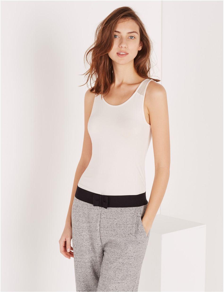 T-shirt sans manche Innerwear - Blanc rose  d8200e7c6