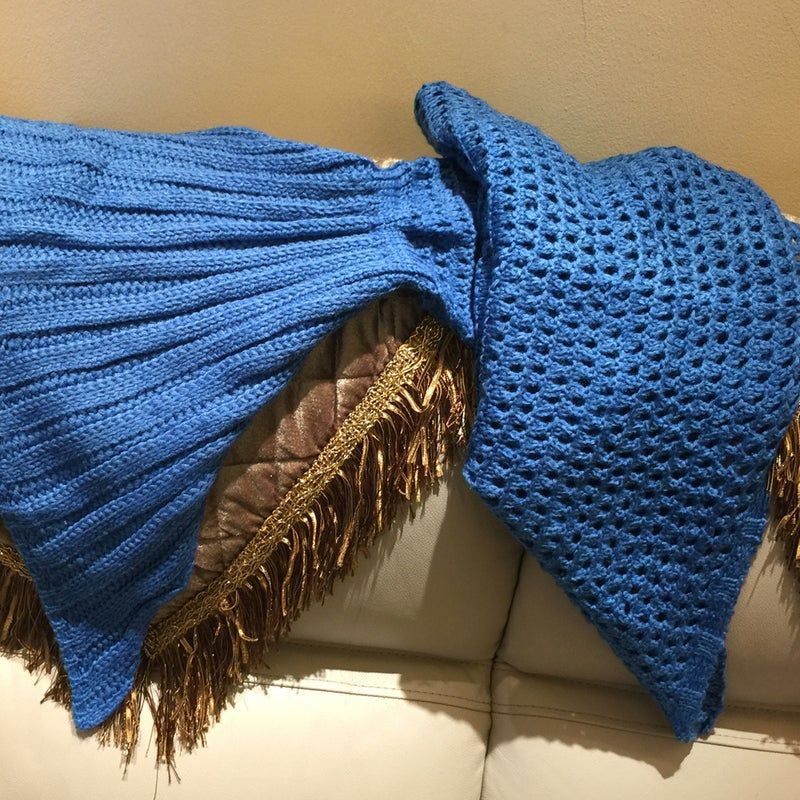 Knitted Mermaid Tail Blanket Crochet Leg Wrap Adult Kids Child Emerald Pool