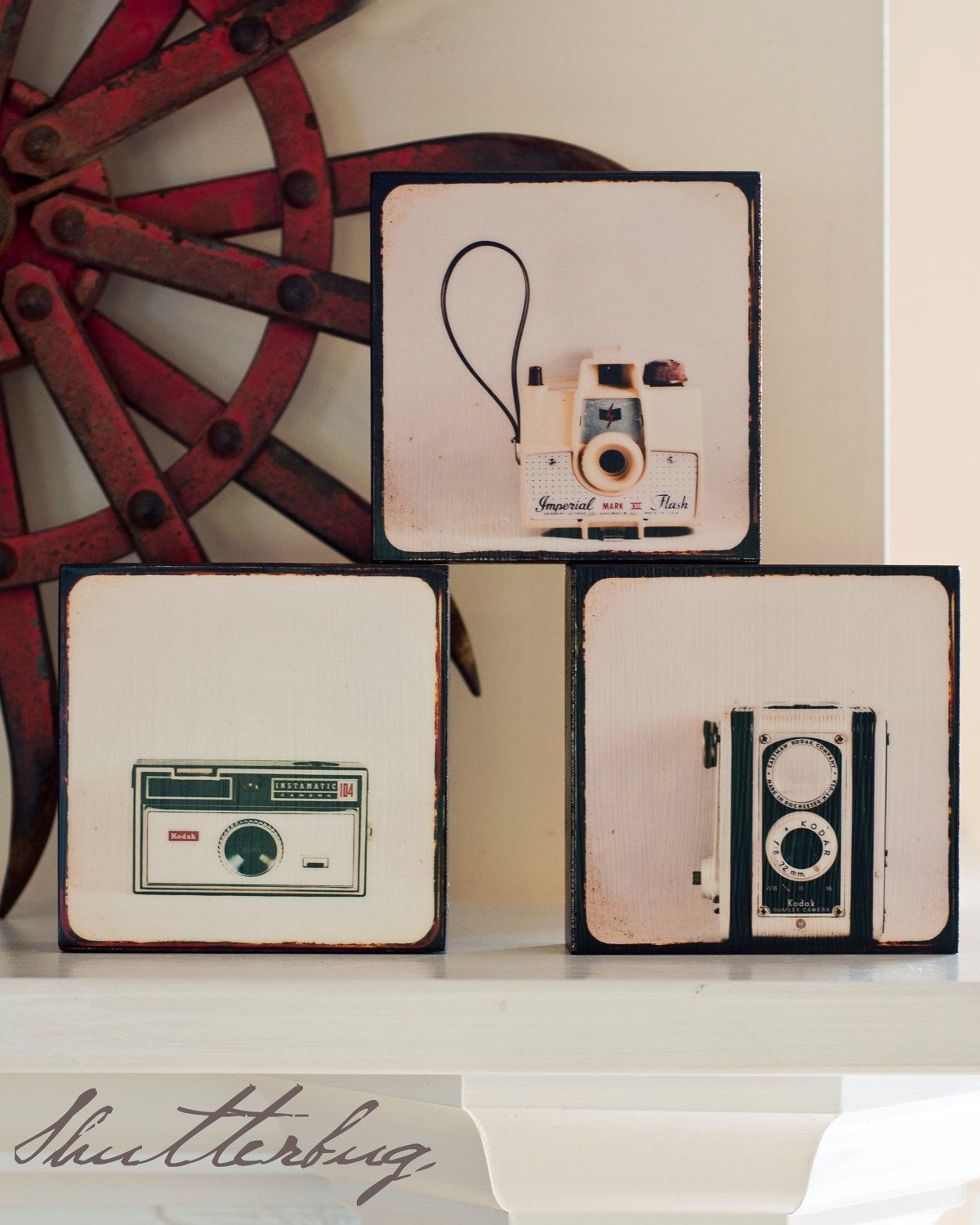 Wood Photo Blocks Vintage Cameras Home Decor Wall Art Whimsical Office For The Photographer Under 100 Shutterbug