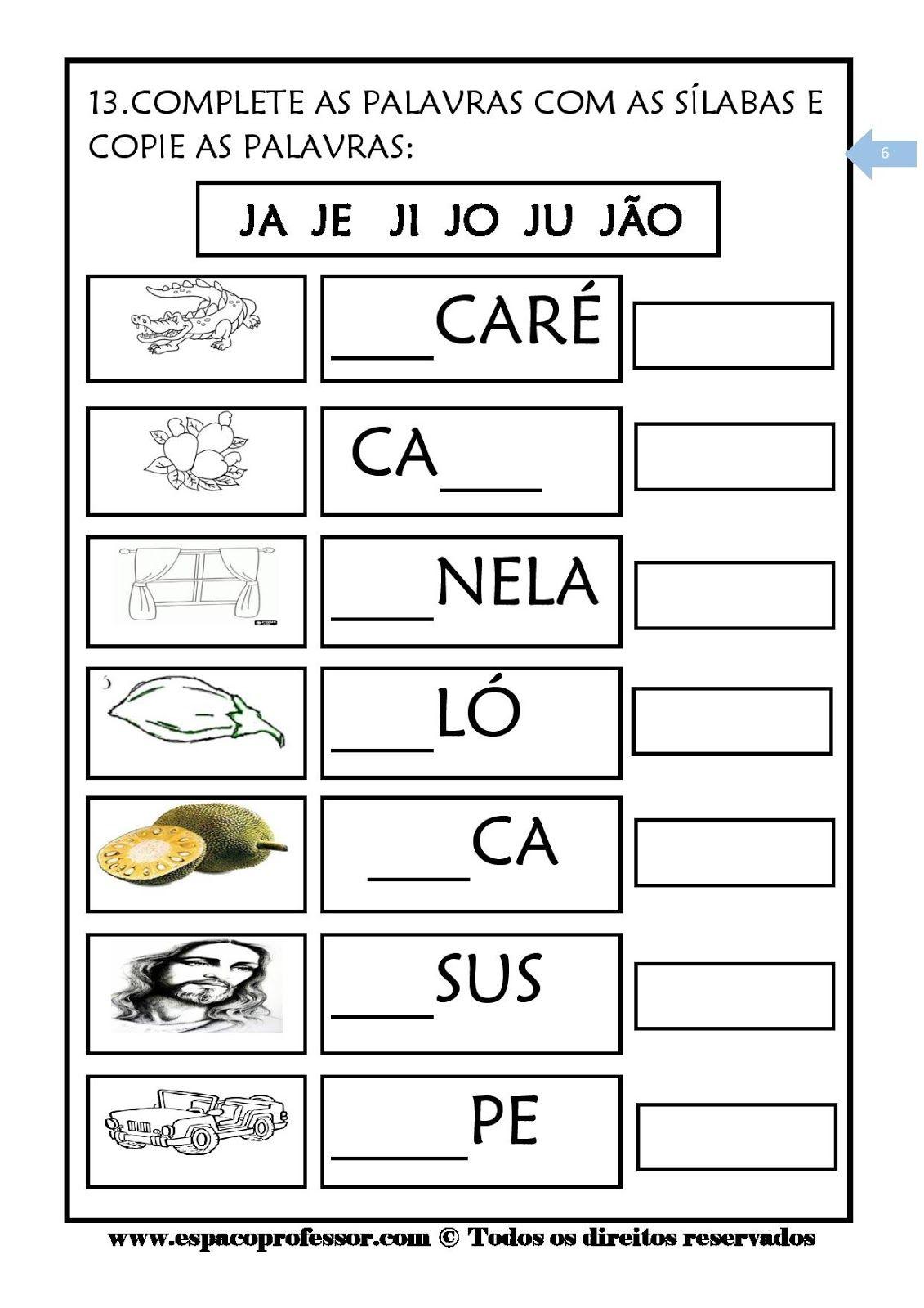 Pin De Pollyara Soares Em Portugues Atividades Com A Letra J