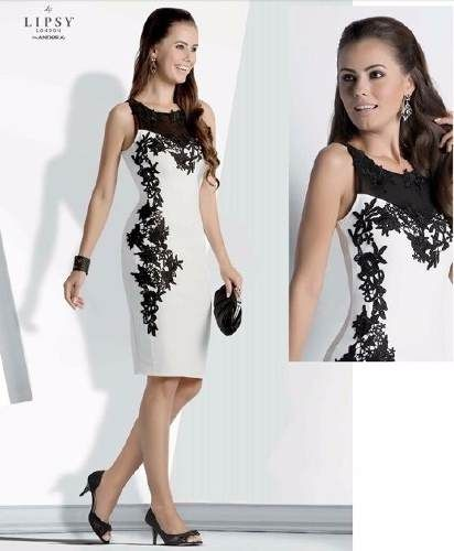 d83cb586b vestido lipsy london 1113693 blanc negro   poliester elastan ...
