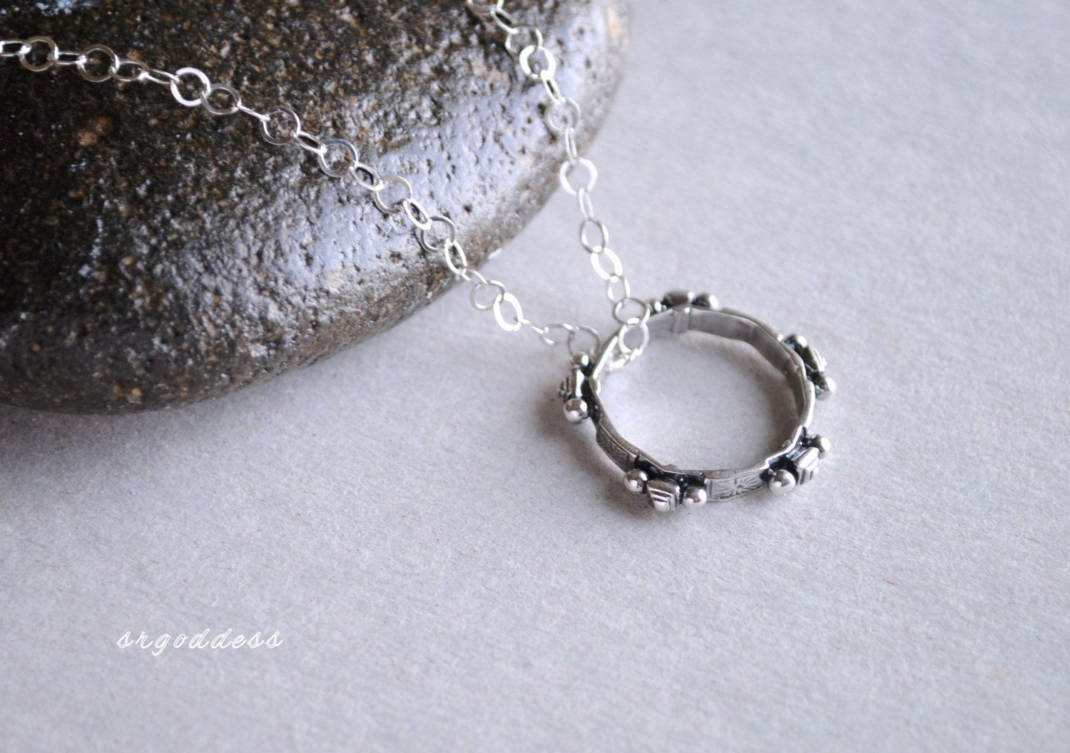 TUAREG RING all sterling silver necklace length and clasp choice by srgoddess - pinned by pin4etsy.com