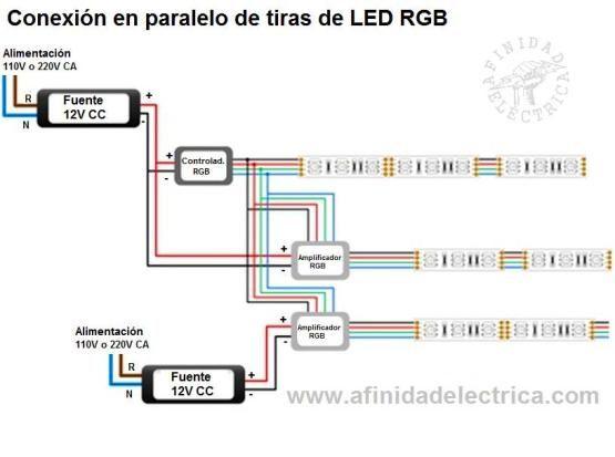 Circuito de conexion de tiras de leds rgb en paralelo con - Como instalar lamparas led ...