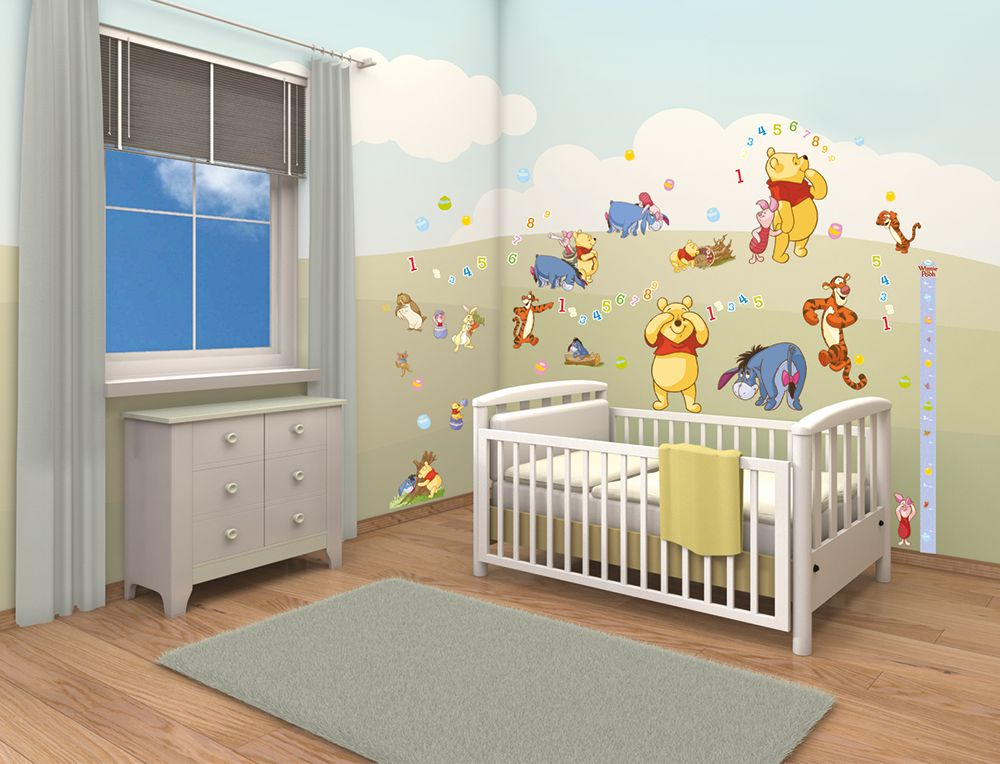 Disney Winnie The Pooh Room Decor Kit Piglet Tigger Nursery Stickers Removable Reusable Heightchart Childrensstickers Kidsdecor