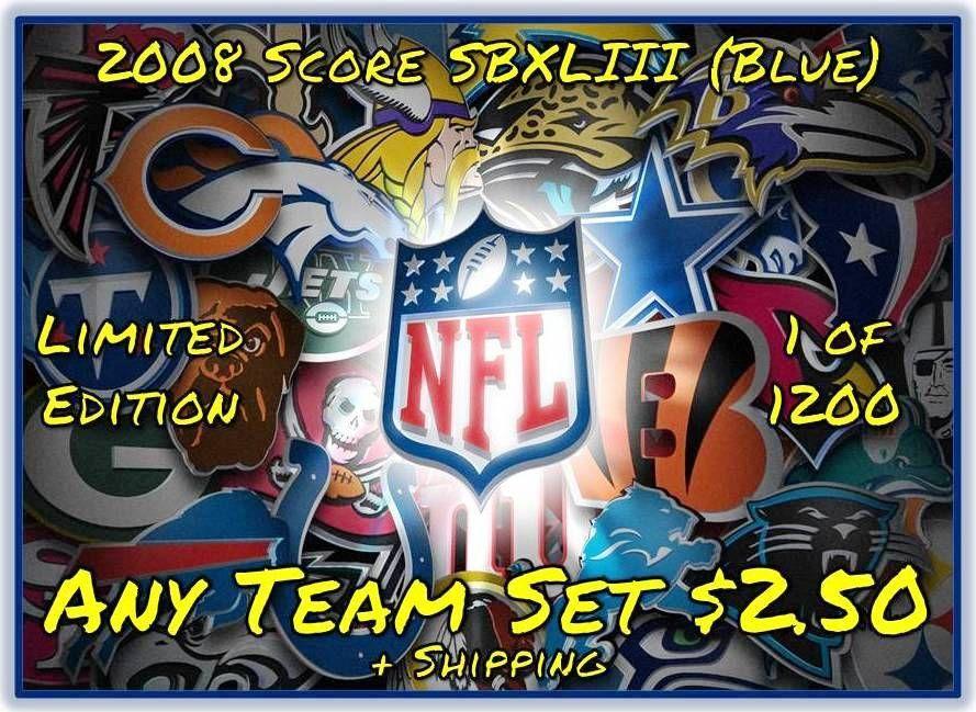 2008 Score Super Bowl XLIII Blue Parallel Team Sets. Each