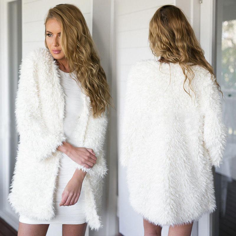 Women Winter Faux Fur Cardigan Slim Outwear Short Party Jacket Coat White Black