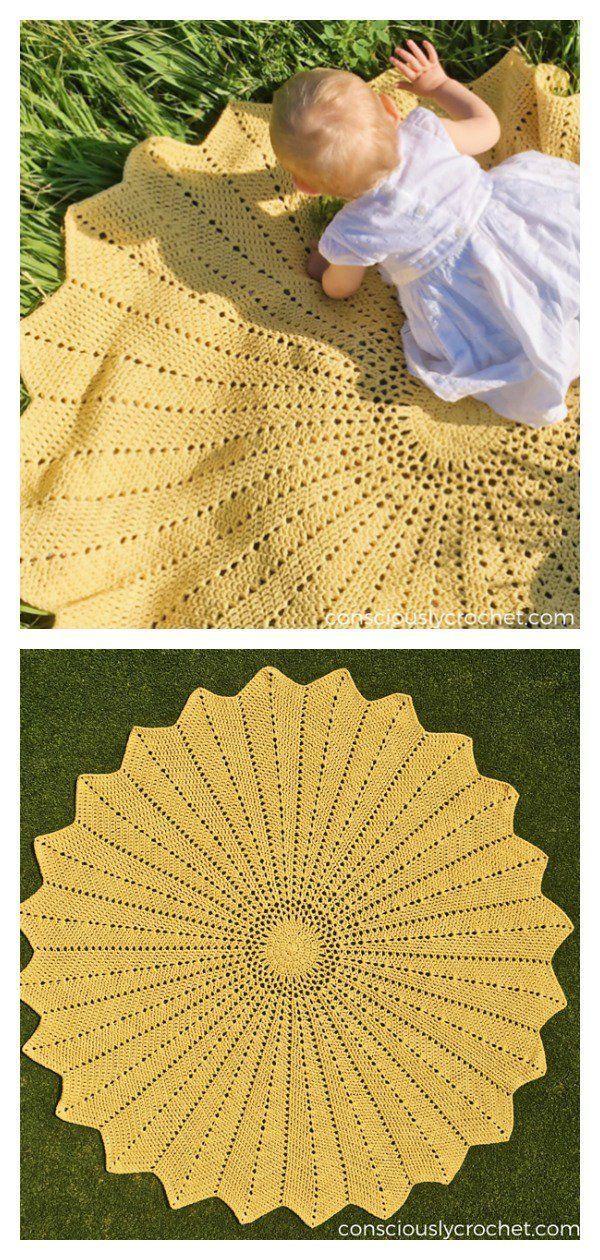 Round Ripple Afghan Baby Blanket Free Crochet Pattern Solstice R Round Ripple Afghan Baby