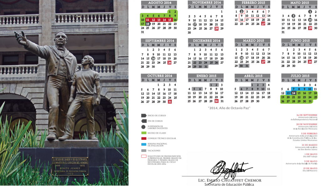 Calendario SEP 2014 – 2015 (México) #escuela #mexico #sep #calendario