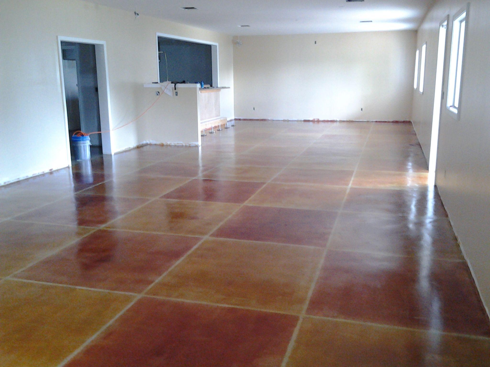 Condo With Unique Use Of Elite Crete Systems Hydra Stone Dye Stain Concrete Decor Quartz Flooring Interior And Exterior