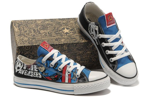 dde8af6f5aef Converse Captain America The Avengers Edition Printed Blue Black Low Tops  Canvas Shoes