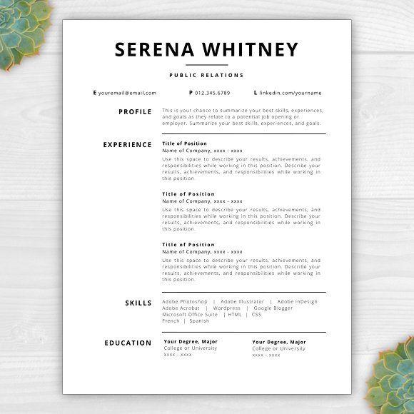 resume templatecv serena by resume template studio on creativemarket - Summarize Your Achievements