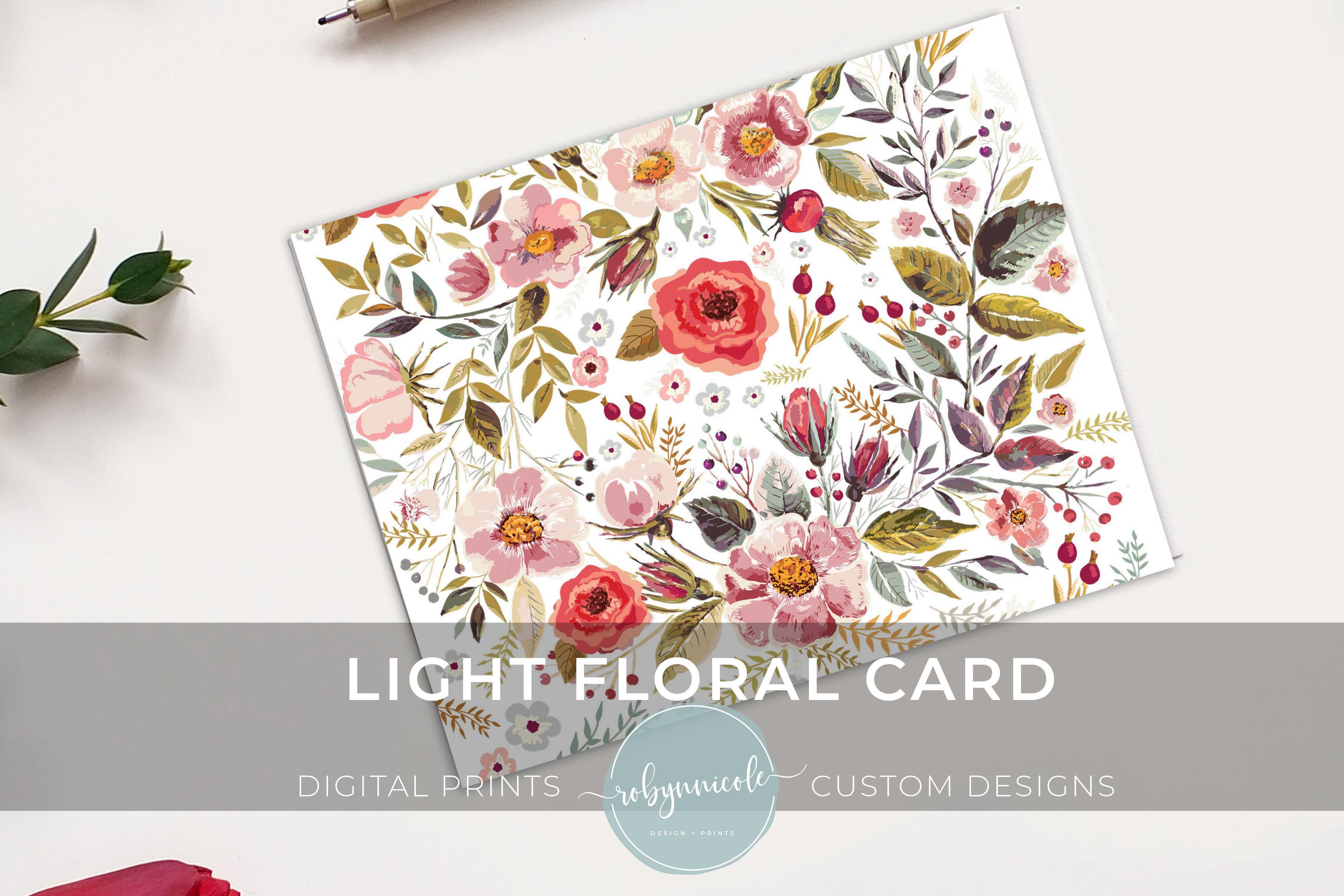 Light Floral Card Printable Card Blank Card Flowers Etsy Floral Cards Floral Cards Design Greeting Card Size
