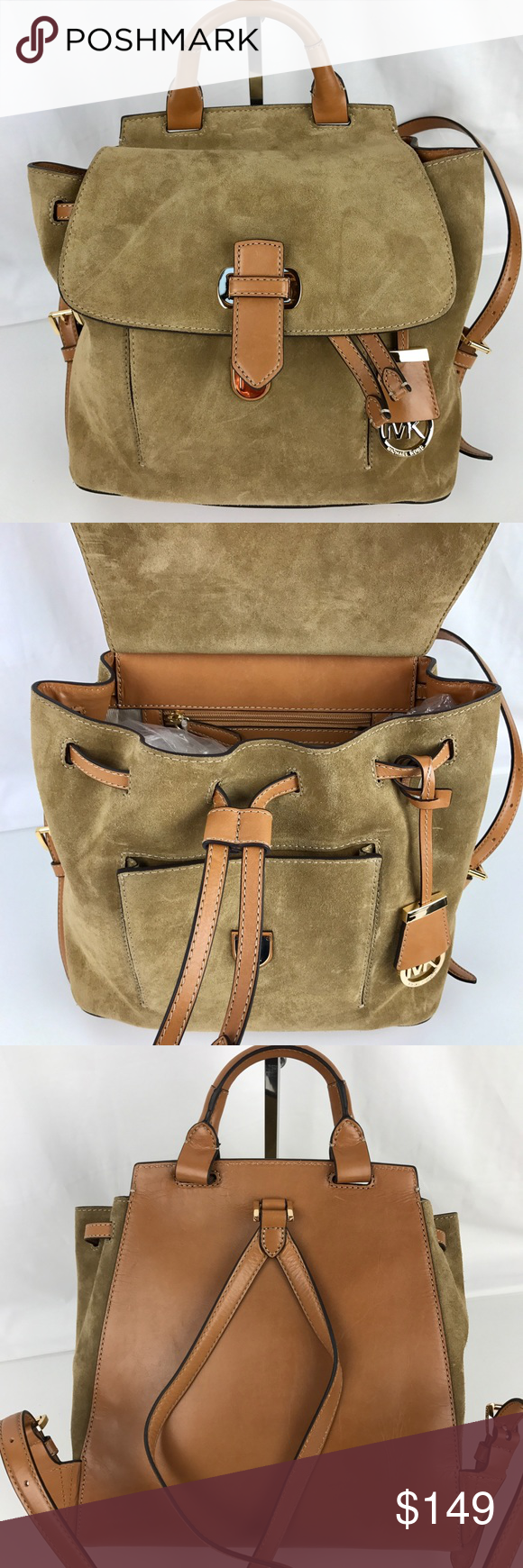 027afaccbf Michael Kors Desert Suede Romy Medium Backpack Authentic. New with Tag.  Snap on flap