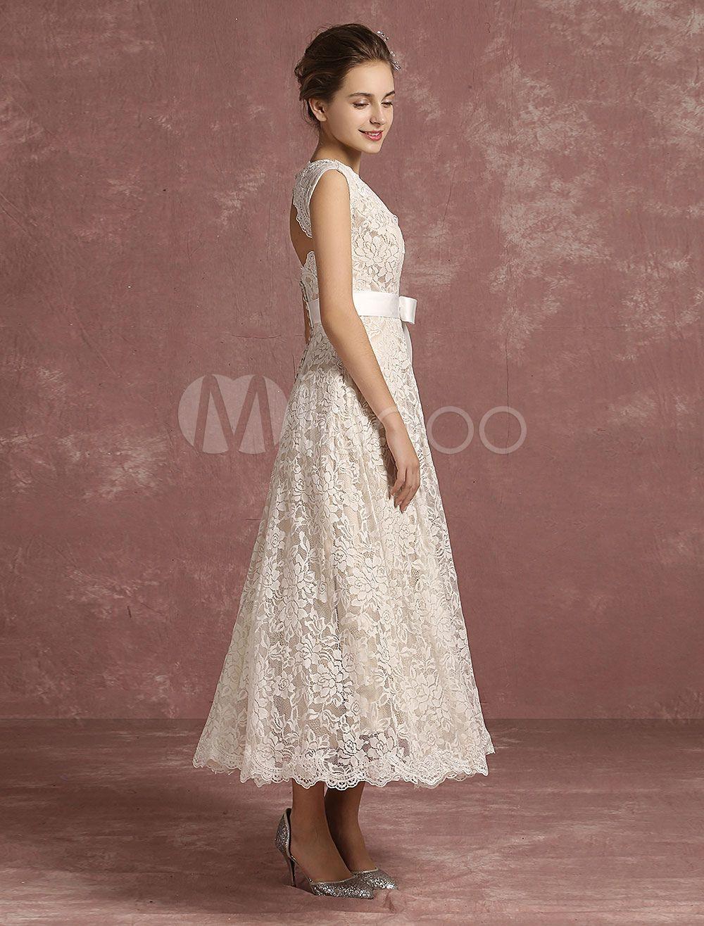 Summer Wedding Dresses 2020 Lace V Neck Sleeveless Bridal
