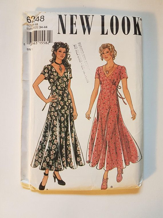 UNCUT 90s Dress Sewing Pattern - Sundress with Empire Waist and Tie ...