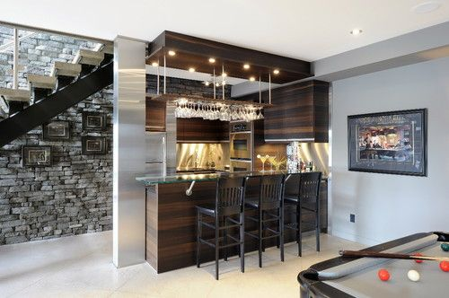 Nice, Modern Basement Wet Bar. Cabinetry Reminds Me Of Zebra Wood  Patterning.