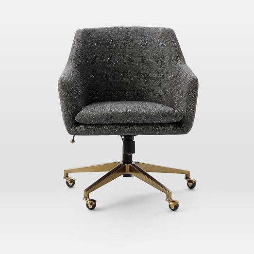 helvetica desk chair, salt + pepper, tweed (blackened bronze base