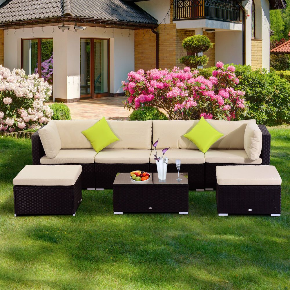 outsunny 21 tlg polyrattan gartenm bel rattan lounge sofa gartenset sitzgruppe garten. Black Bedroom Furniture Sets. Home Design Ideas