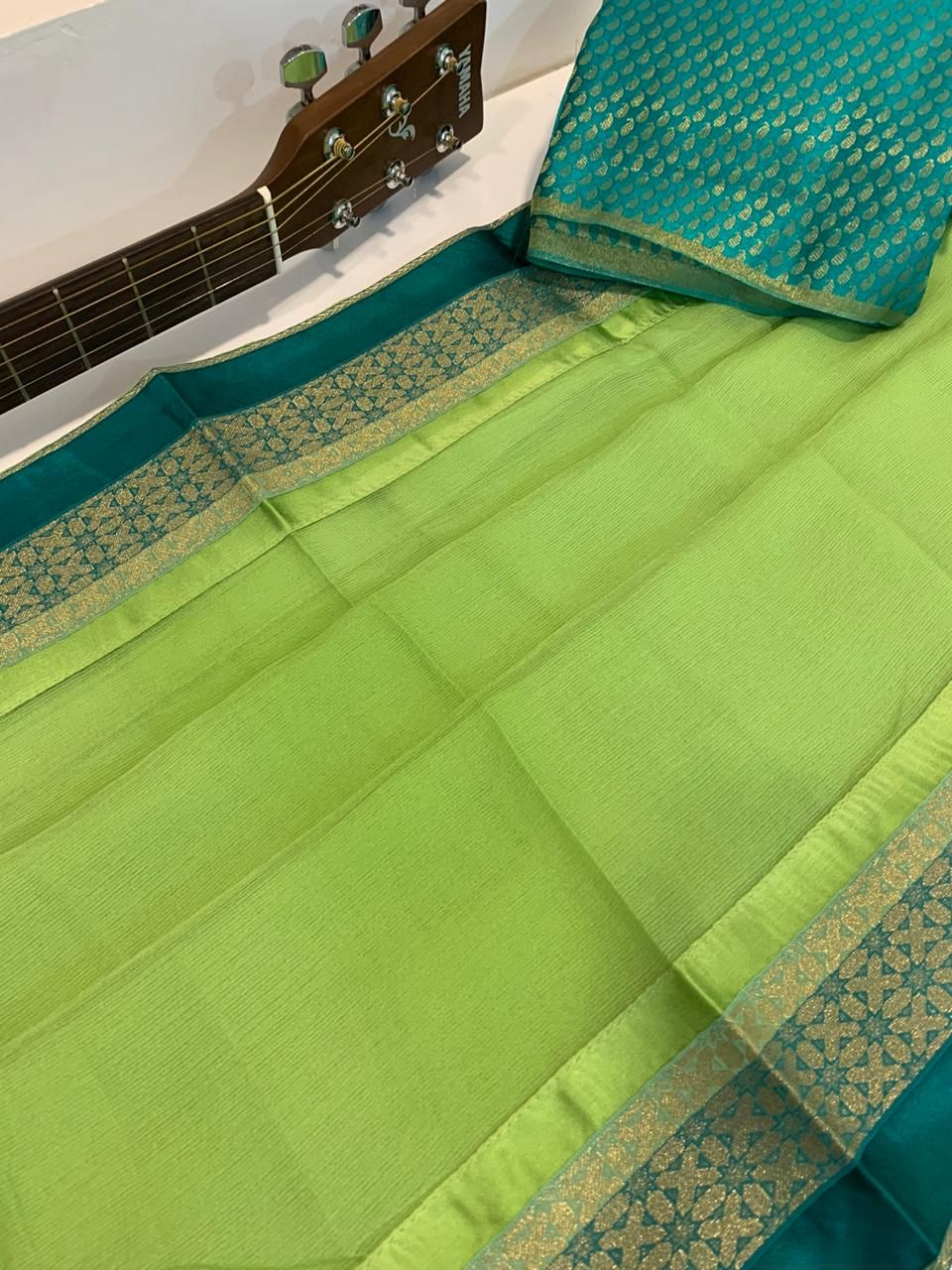 Photo of Buy mint green Soft and lite weight pure marble chiffon sarees | order 8897195985