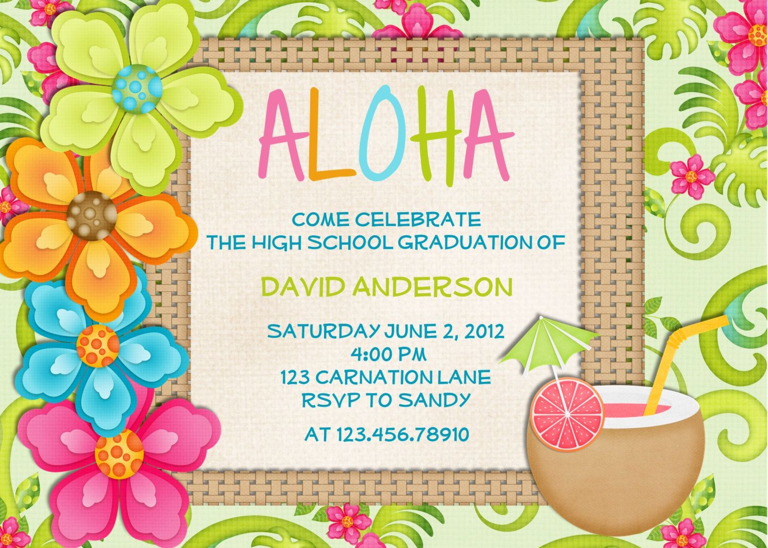 luau birthday invitation sweet  tropical hawaiian hula party