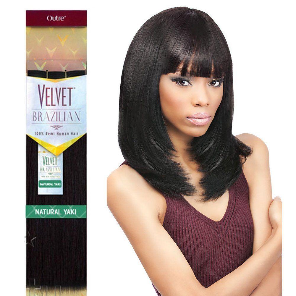 Outre Remy Human Hair Weave Velvet Brazilian Natural Yaki 16 1b