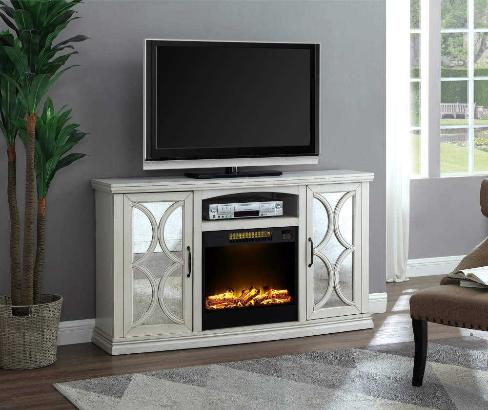 White Mirror Door Electric Fireplace Console In 2020 Big Lots
