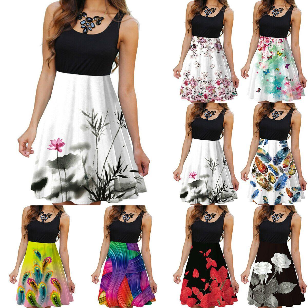 DE Damen Geblümt Ärmellos Strandkleid Sommerkleid Minikleid Party Blumen Kleider