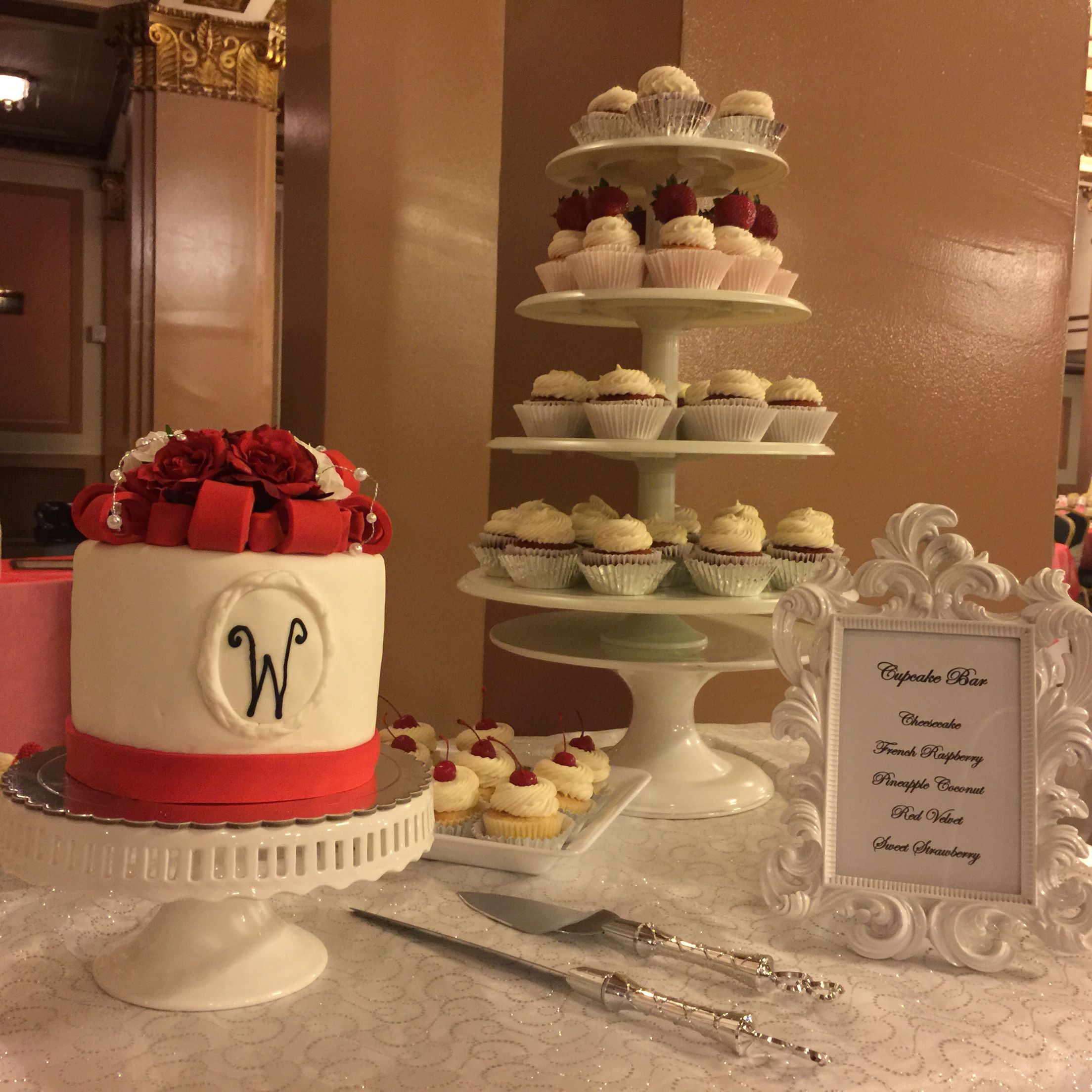Wedding cake and cupcake table livaysweetshop candytable cakes