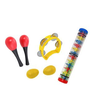 Mini musicians create boisterous tunes with this set of magical instruments that ignite imaginations! Featuring a pair of maracas, egg shakers and a rainmaker along with a colorful tambourine, this collection of playful pieces will keep any little Mozart entertained.