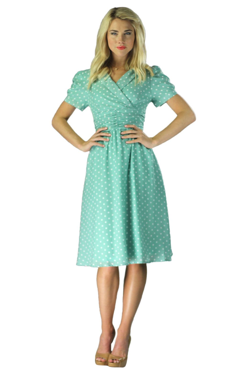 Vintage Modest Dresses in Mint Polka Dot | Femdom Artist Reference ...