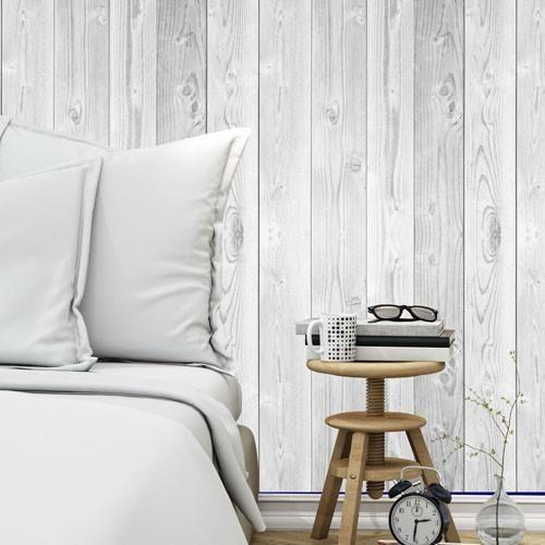 Vintage white wood removable wallpaper