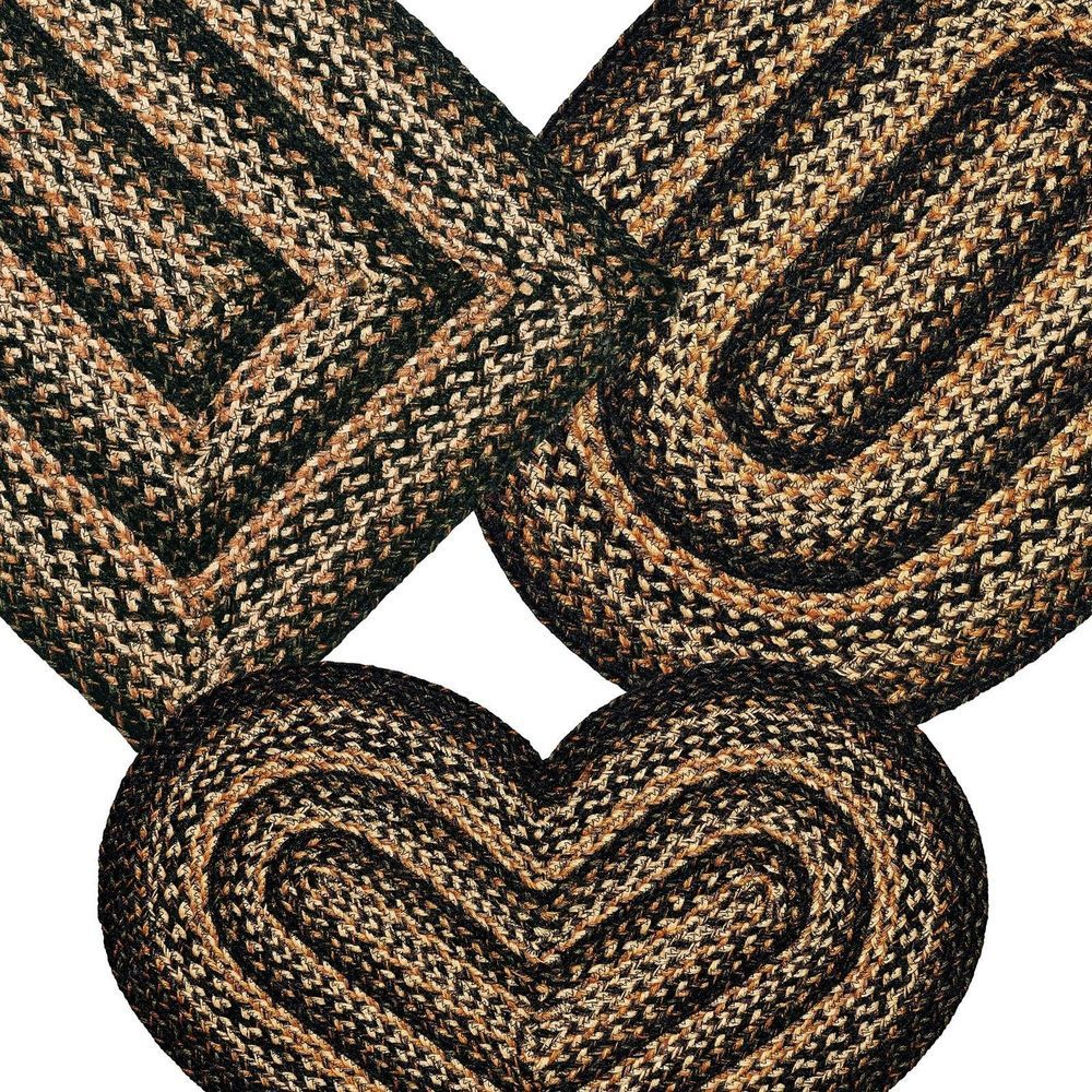 Primitive Country Area Rugs Jute Braided Black Forest Collection Floor Covering Braided Rug Diy Braided Jute Rug Braided Rugs