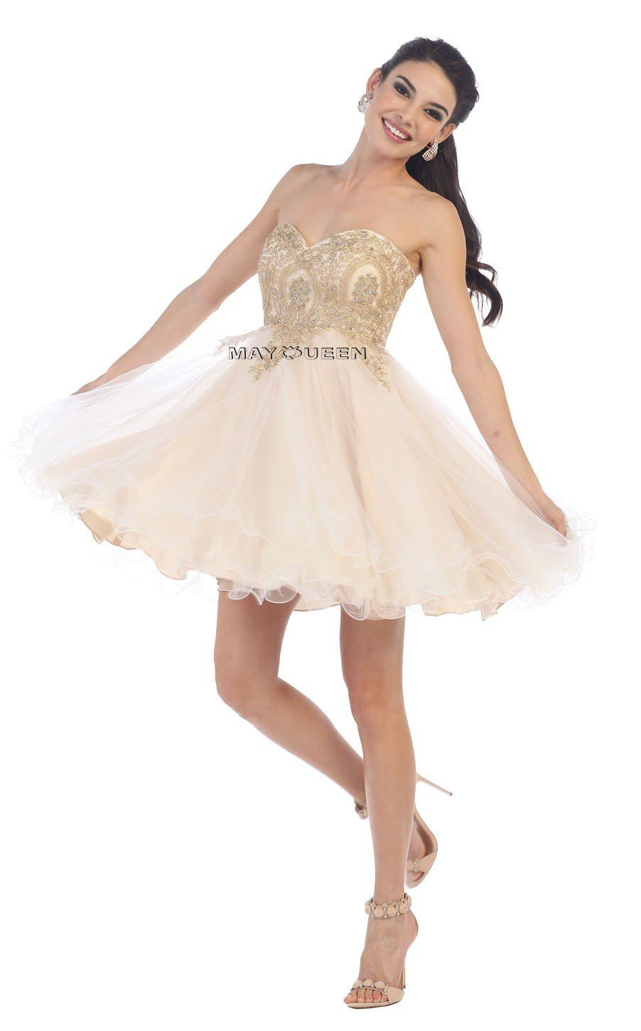 Mq strapless sweetheart u lace applique with tulle skirt