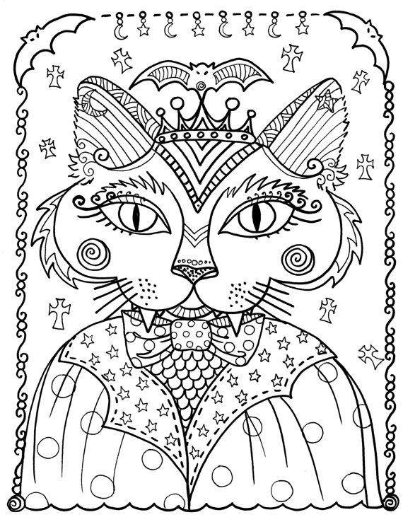 Fantasy Cats Instant Download 5 Coloring Pages by