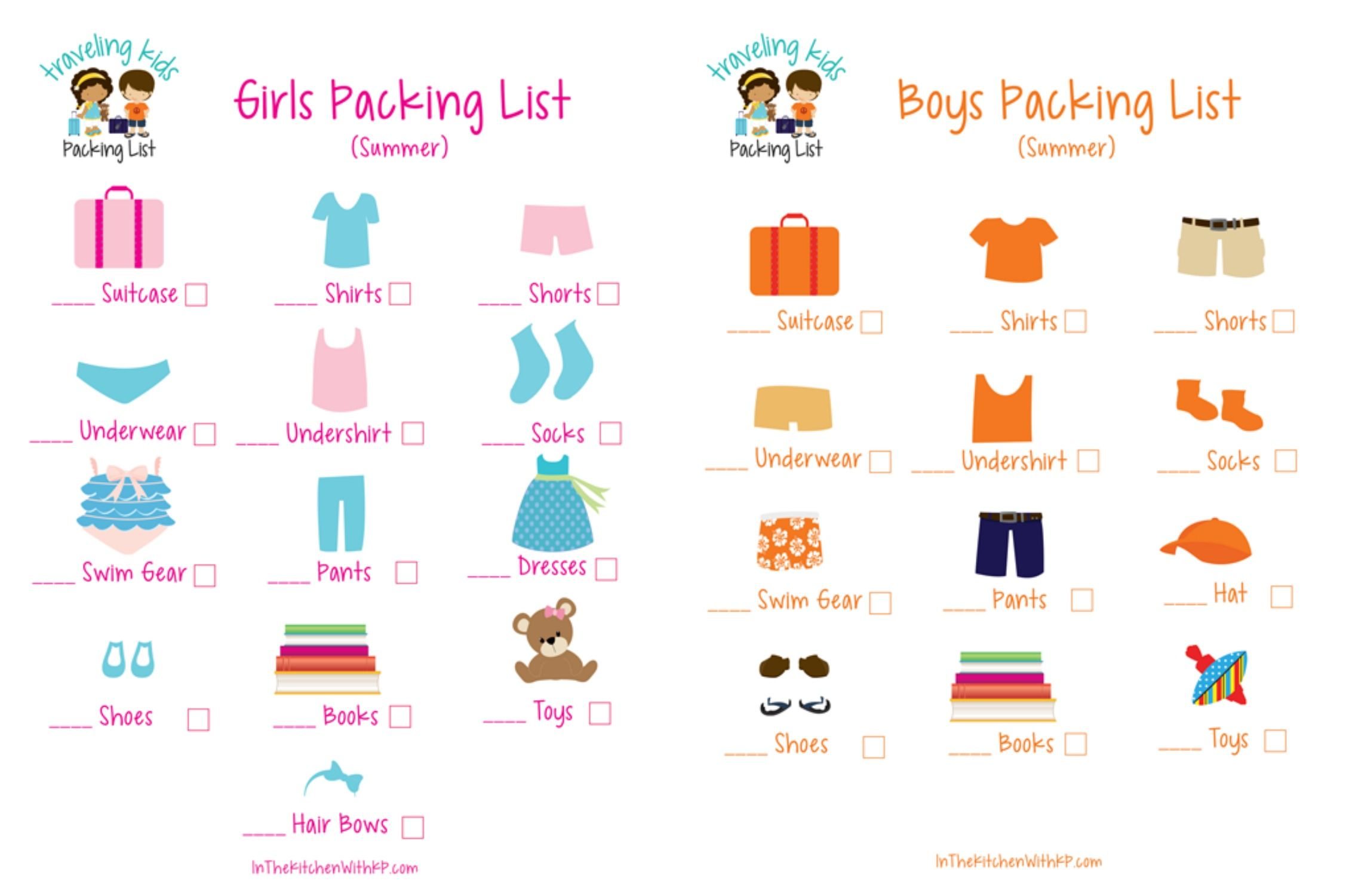 Printable Picture Packing List For Preschoolers InTheKitchenWithKP Travel PackingList