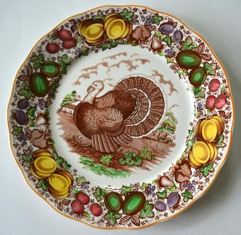 Antique / Vintage English Staffordshire China Turkey Charger Plate Barker Brothers Thanksgiving Dinner Turkey Platter Brown & Antique / Vintage English Staffordshire China Turkey Charger Plate ...