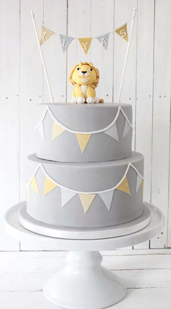 Amazing Grey And Yellow Lion First Birthday Cake With Bunting By Blossom Personalised Birthday Cards Bromeletsinfo