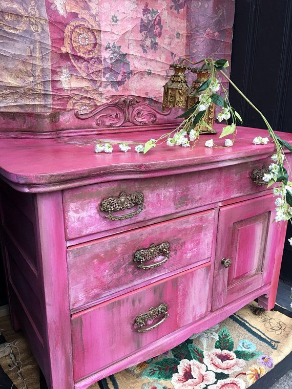 Pink Bedside Table: Bohemian Pink Vintage Cabinet Bedside Table Shabby Chic