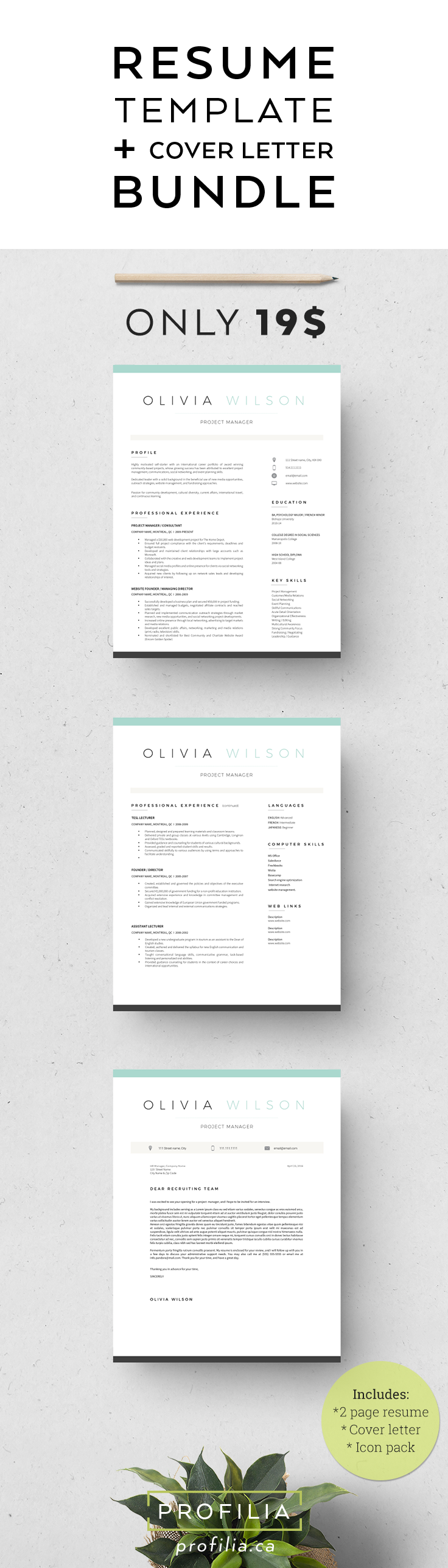 Font For Cover Letter Modern Resume & Cover Letter Bundle  Editable 3 Page Word