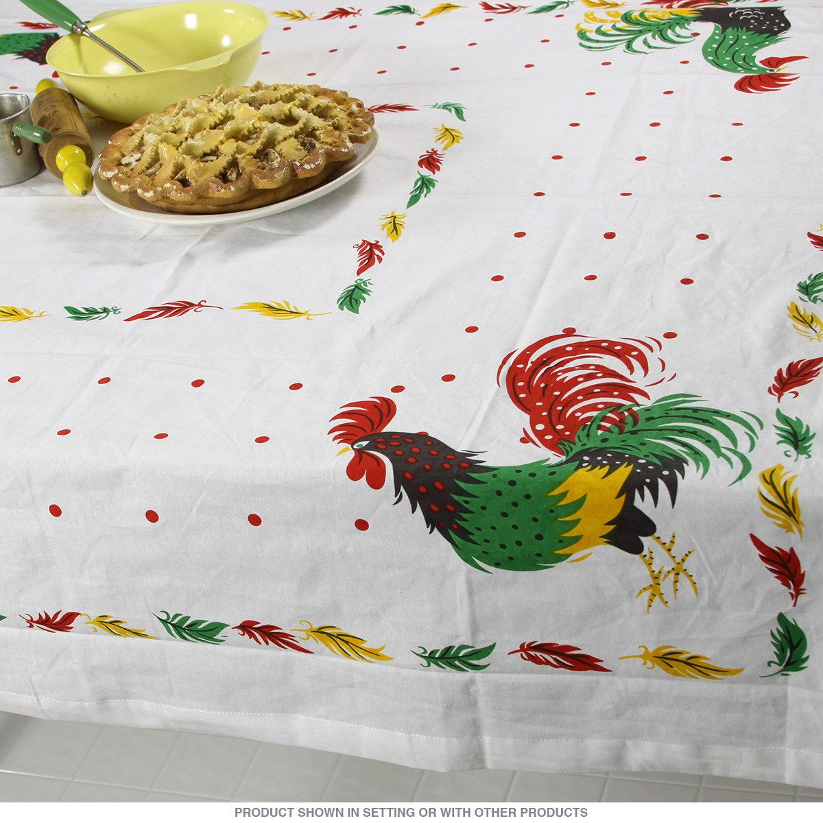 Rooster 50s Style Country Cotton Tablecloth 52 x 52_D | Vintage ...