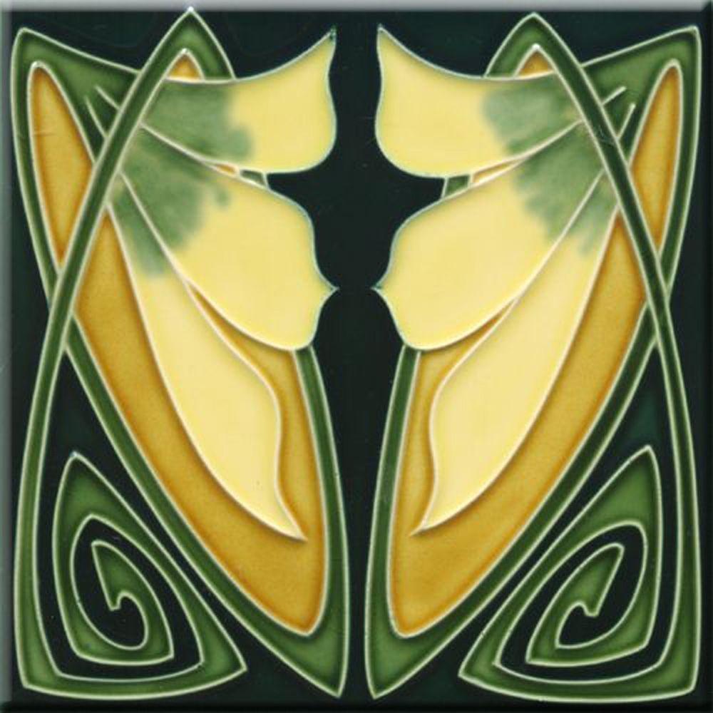 Art Nouveau Ceramic decorative wall tile 6 X 6 Inches #173 ...
