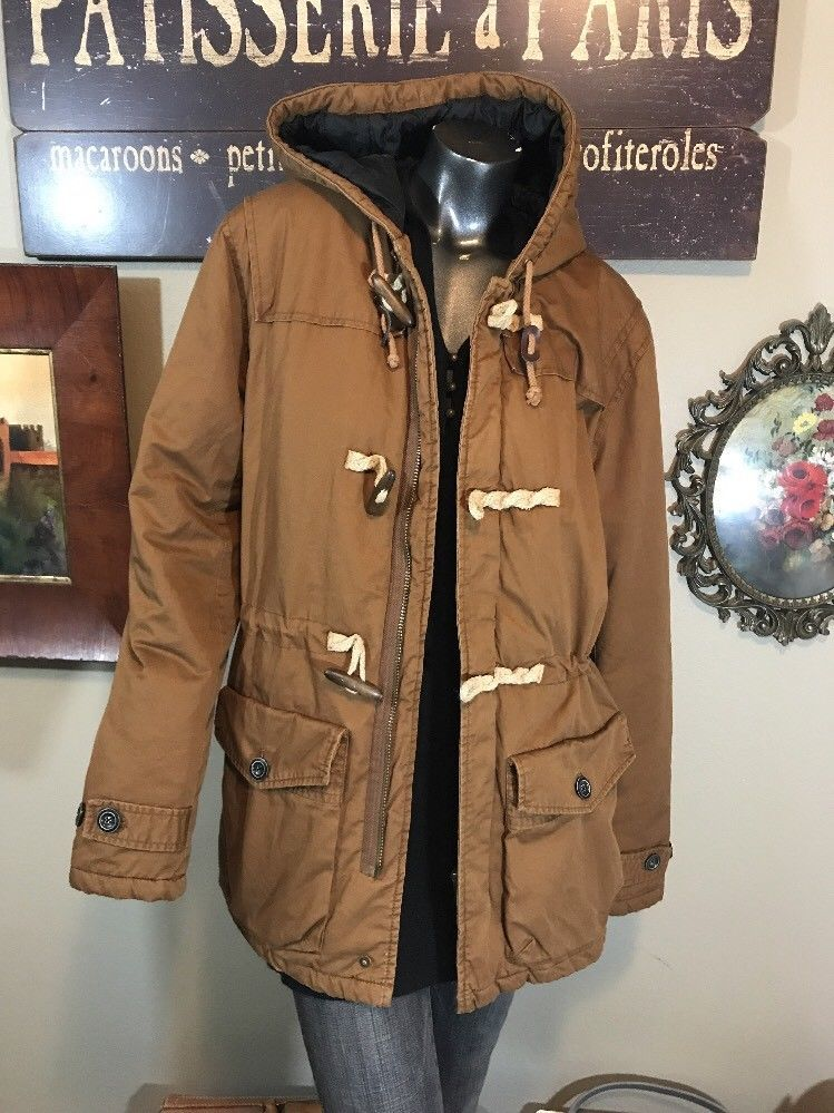 get new online shop new lower prices Mens River Island Large Brown Caramel Canvas Toggle Hood Coat ...