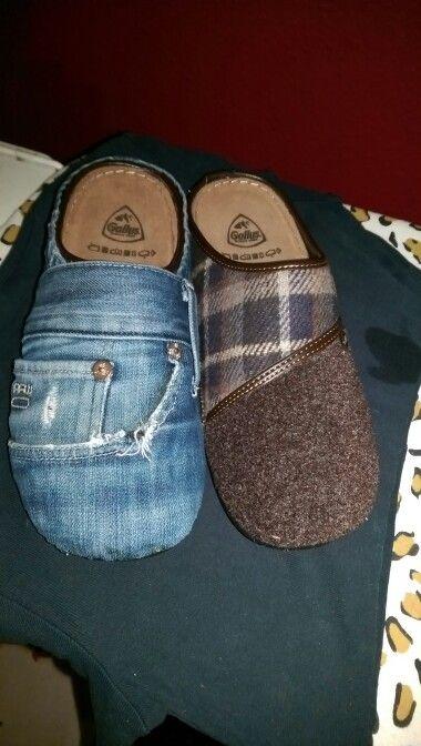 Pantoffeln einfach mit ner alten Jeans bekleben :)