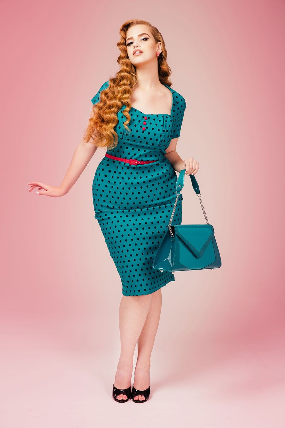 Charlotte Dress in Jade With Black Polka Dots - Plus Size | Dia&Co ...