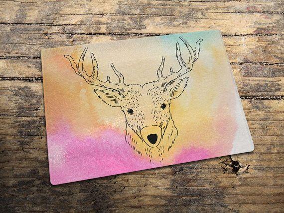 Deer Drawing Glass Cutting Board