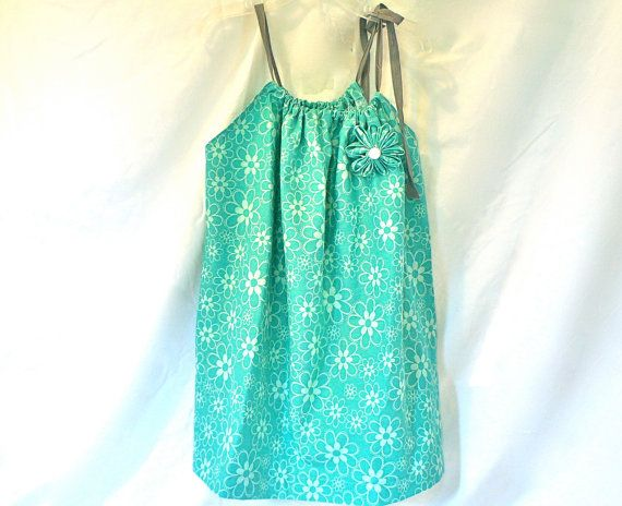 Pillowcase Dress  Teal Tropical Flowers by GoobaGear on Etsy, $16.99